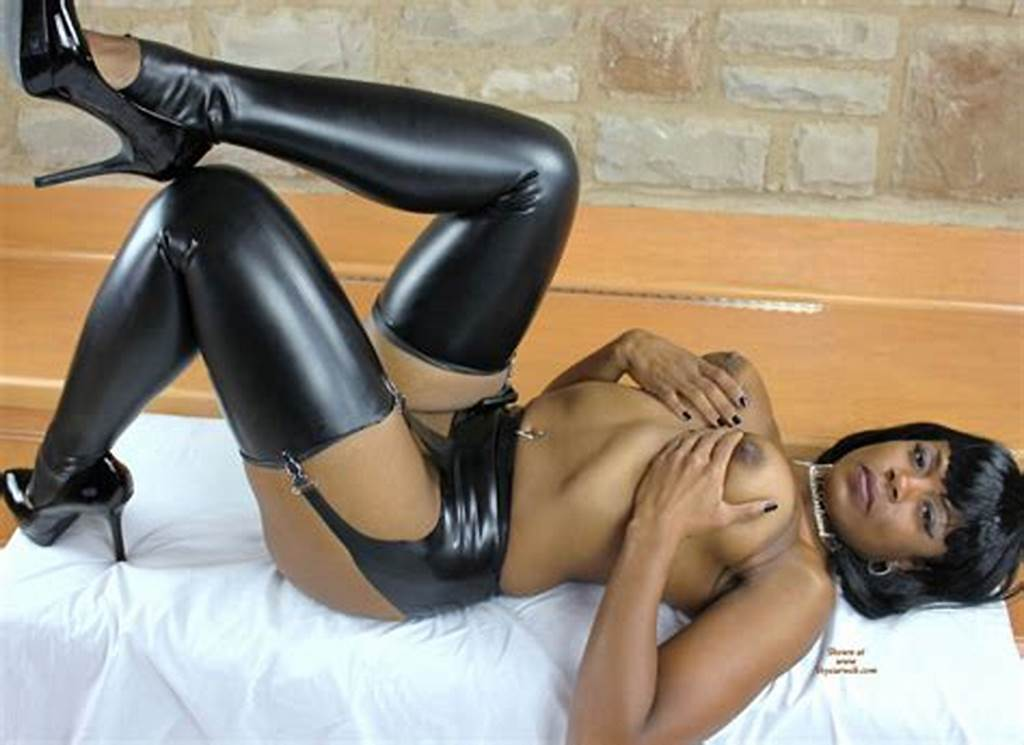 #Black #Beauty #Topless #With #Leather #Stockings