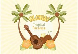 Birthday Postcard Template Hawaiian Vector Illustration Download Free Vectors