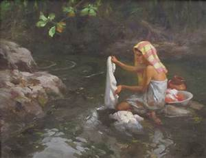 Fernando Amorsolo oil on board of a young woman washing ...