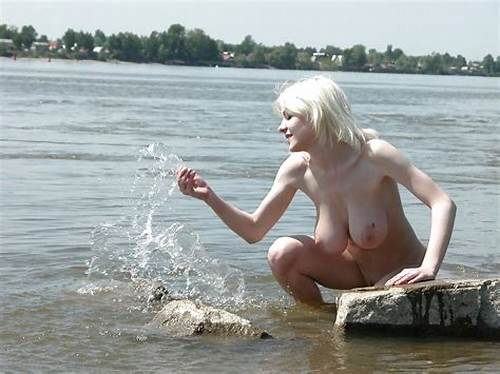 Charming Coco Showing Her Fantastic Boobs #Blonde #With #Really #Huge #Boobs #Posing #In #River
