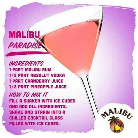 As of 2017 the malibu brand is owned by pernod ricard. Malibu paradise | Cocktail glass, Liquor drinks, Absolut vodka