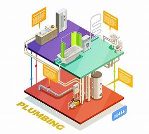 Plumbing Water Heating System Isometric View