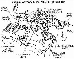 1964-65 Vacuum Advance Lines - Diagram View