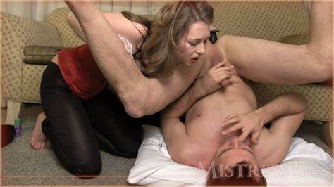 Mature Made Him Eat His Own Ejaculation From Strapon