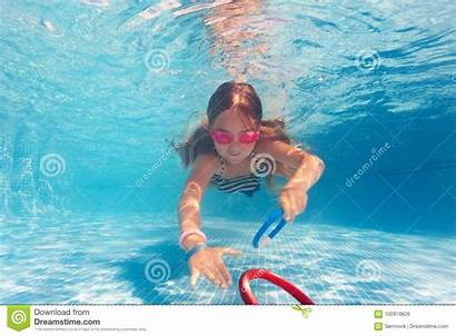 Preteen Water Under Pool Bottom Pink Laying