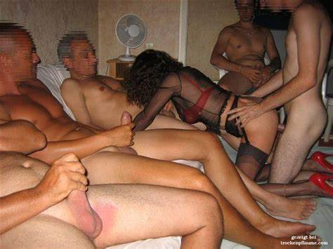 Spunky French Young Couple Gangbang