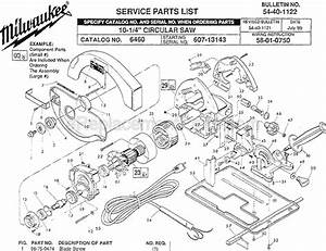 Milwaukee 6460 Parts List And Diagram