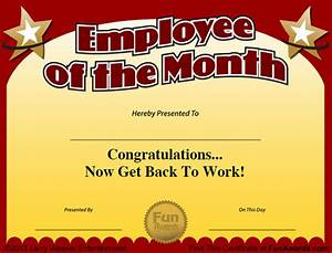 employee of the month certificate free funny award template With funny certificates for employees templates