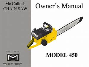 Mcculloch 450 Chain Saw Owners  U0026 Operators Manual