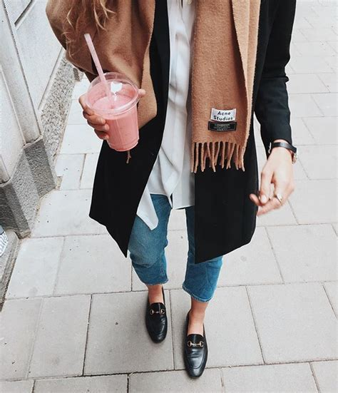 Fall minimalist style - Acne scarf and Gucci loafers | A Stylish Life | Pinterest | Gucci ...