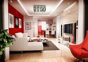 une deco de salon avec du temperament chaud en rouge With decoration salon sejour moderne