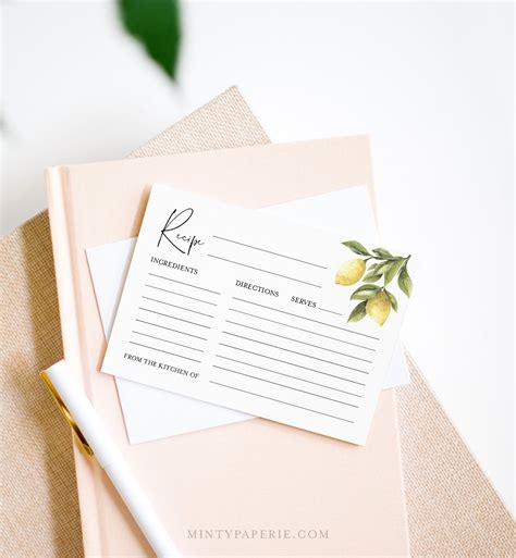Lemon Recipe Card Template Printable Citrus Bridal Shower