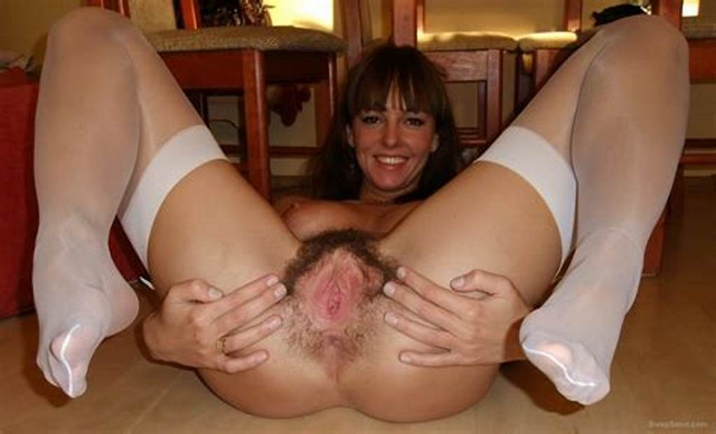 #Hairy #Cunt #Slut #In #Stockings #Spreading #Her #Cunt #Wide