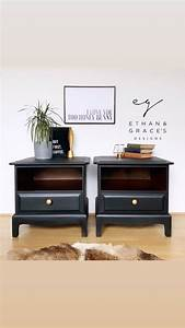 A, Pair, Of, Black, Stag, Mahogany, Bedside, Tables