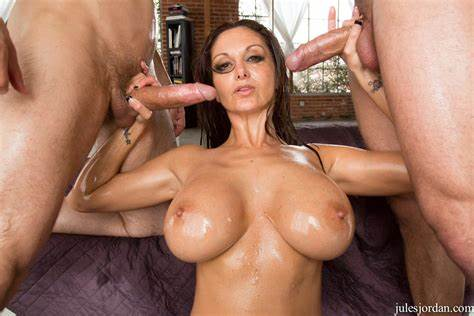 Oiled Stockings Milf Double Banged
