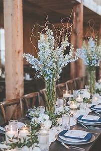 Simple, Reception, Centerpieces, With, A, Big, Impact, Tall, Blue