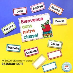 french_classroom_theme_rainbow_dots_welcome_poster_name ...