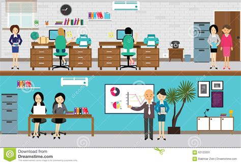 dim up au bureau working at office in flat vector illustration stock