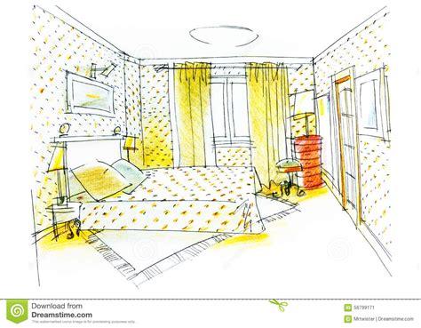 dessin de chambre dessin de chambre à coucher avec le crayon de couleur