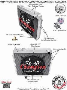 4 Row Dr Champion Radiator W   16 U0026quot  Fan For 1965 1966 Ford