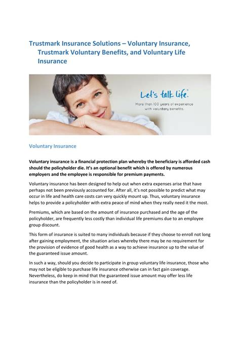 Contact liberty mutual for a quote (reference client #110797): Trustmark insurance solutions - voluntary insurance, trustmark voluntary benefits, and voluntary ...