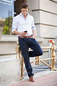 white checked oxford. navy pants. caramel belt/ brogues ...