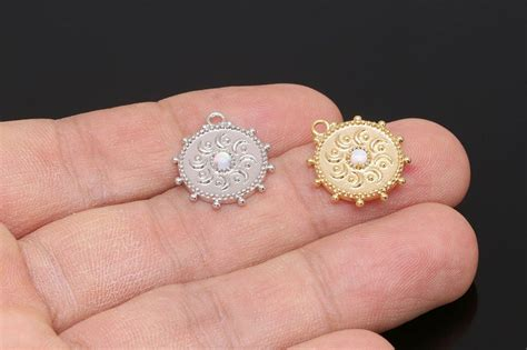 H164-2pcs-Gold Plated-16.5mm Opal Coin Charms-Medallion   Etsy