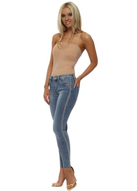 Blue Skinny Side Stripe Jeans - Redial