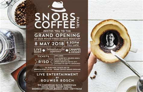 I think woods is a good first job, right out. Snobs Coffee Wood-Fired Roastery Grand Opening | South Africa