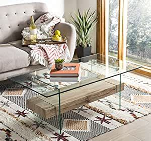 Safavieh kayley rectangular modern glass coffee table available in natural what you get: Amazon.com: Safavieh COF7004A Home Collection Kayley Natural Rectangular Modern Glass Coffee ...
