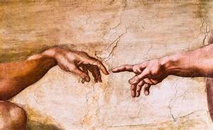 Close-up of God and Adam's hands in the Sistine Chapel ...