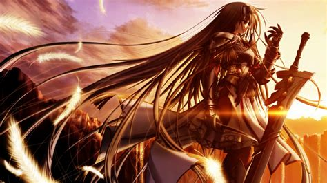 Fate/stay night anime illustration, minimalism, texture, black background. anime, Sword, Sunset, Long Hair, Knights, Original Characters Wallpapers HD / Desktop and Mobile ...