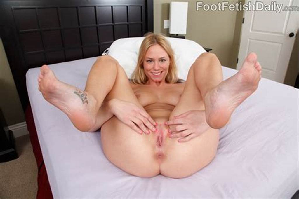 #Grace #Wood #Strips #Panties #Off #And #Gets #Cum #On #Her #Feet