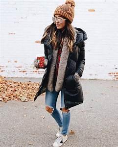 Coat down jacket tumblr winter outfits winter coat black coat knitted beanie beanie pom ...