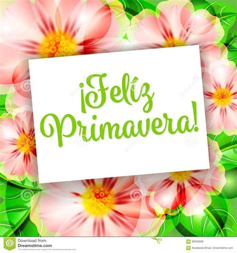 Feliz Primavera 1 stock vector Illustration of card