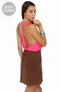 Cool Backless Dress Cage Dress Color Block Dress $40 00
