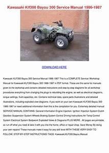 Kawasaki Klf300 Bayou 300 Service Manual 1986 By
