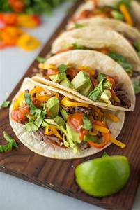 Slow Cooker Beef Fajita Tacos with Mango Sauce - Simple Roots