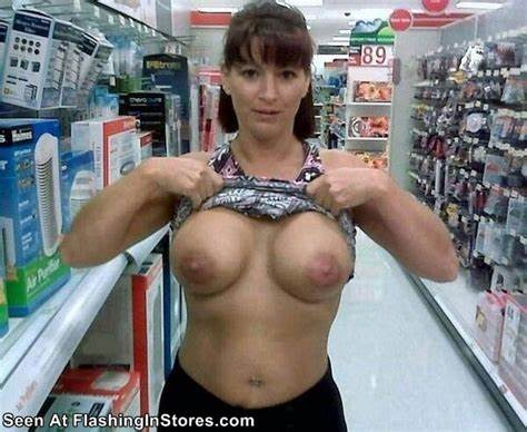 Cleavage No Skirt In Supermarket Great Lovely Girls Displaying Her Breasts In A Walmart Store
