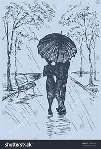 Vector Romantic Scene Couple Umbrella Walking Stock Vector ...