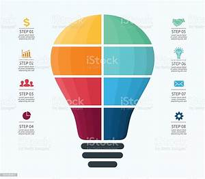 Vector Light Bulb Infographic Template For Air Balloon