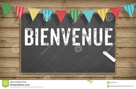 Welcome In French On Black Board Stock Illustration ...
