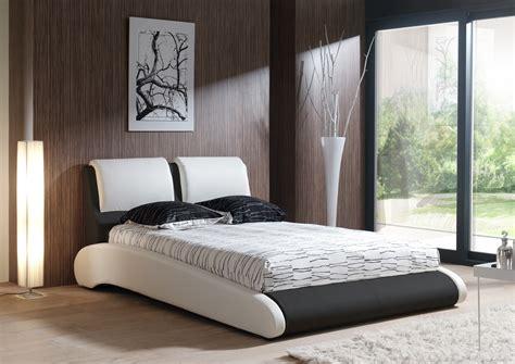 magasin de chambre a coucher adulte lit adulte design en pu blanc et noir brita lit adulte