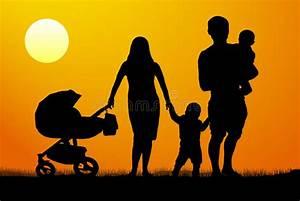 Familie Mit Drei Kindern : eine junge familie mit kinderschattenbild bei ~ A.2002-acura-tl-radio.info Haus und Dekorationen