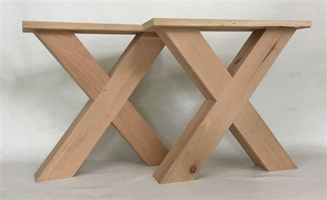 """A coffee table does a good deal of work. Chunky Solid Cherry X Style Farmhouse Coffee Table Legs 17 Inch Unfinished 3"""" x 3"""" Legs Heavy ..."""