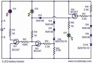 3 Led Battery Monitor Circuit