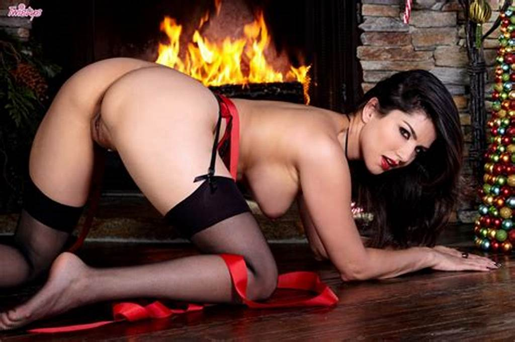 #Sunny #Leone #In #Lingerie #And #Stockings #For #Christmas