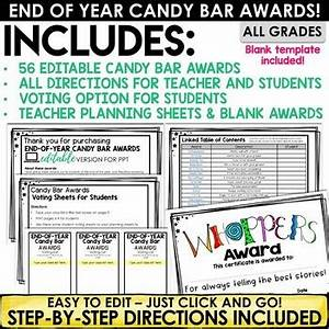 Free Fun Awards Certificates End Of Year Awards Editable Candy Bar Awards