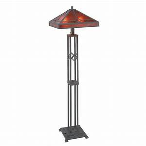 Iron floor lamp mission style with mica shade home for Lowes branch floor lamp