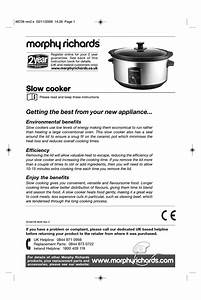 Morphy Richards Slow Cooker Instructions Manual Pdf